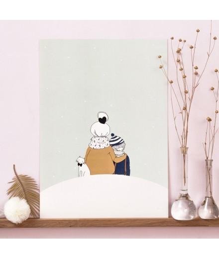 Affiche Sous la neige, garçon - Format A4