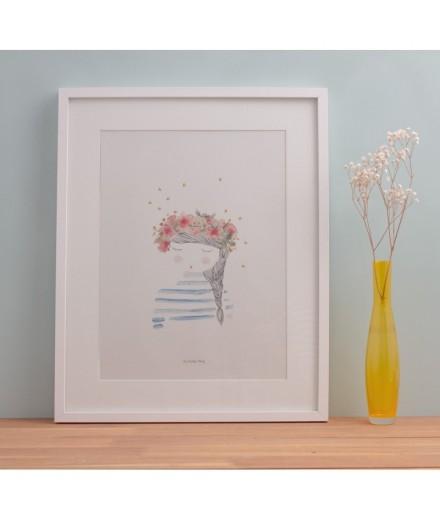 Affiche La fille aux fleurs - Format A4