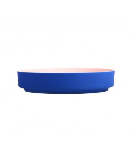 Coupelle en porcelaine - bleu et rose
