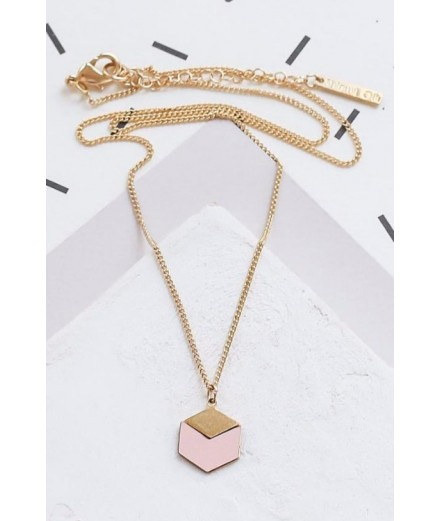 Collier Cube - Rose pastel