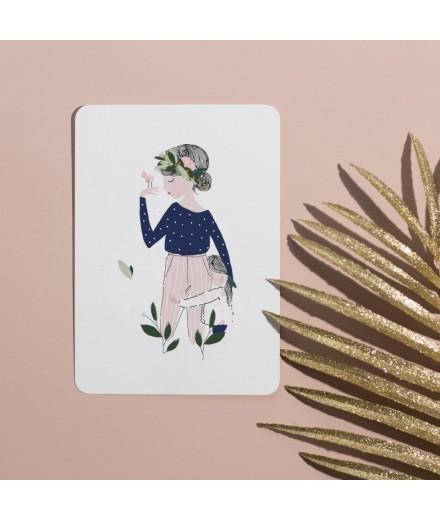 Carte postale Adelaïde bleu - Mère et fille