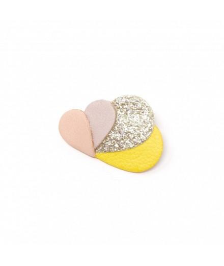 Broche Nuage - Jaune, lilas, glitter