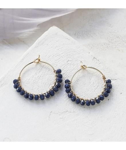 Boucles d'oreilles Viola Hoop - Bleu gris