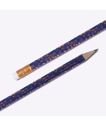 """Crayon à papier """"Little cotton"""" - bleu et bronze"""