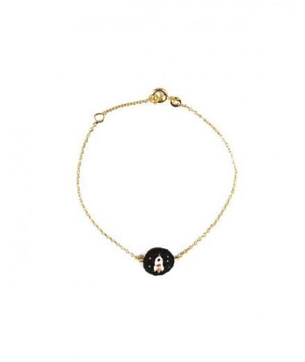 Bracelet brodé noir - Fusée