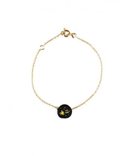 Bracelet brodé noir - Etoile filante