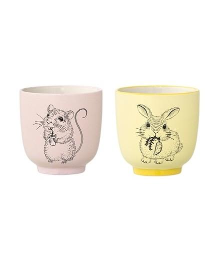 Set de deux tasses Nanna - Lapin et écureuil
