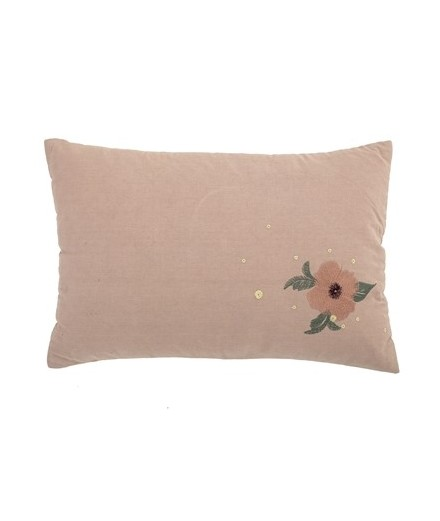 Coussin vieux rose broderies - Fleurs