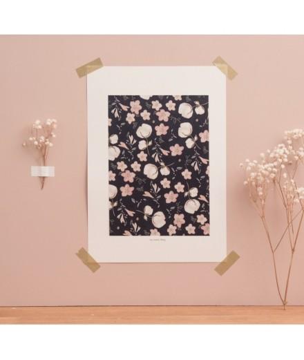 Affiche Motif floral marine - Format A4