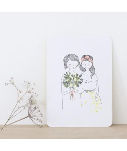 Carte postale Soeurs Mimosa