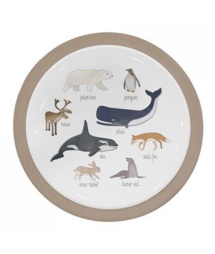 Assiette en mélamine - Animaux de l'Arctique
