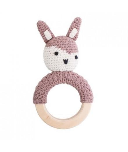 Hochet en crochet - Lapin rose