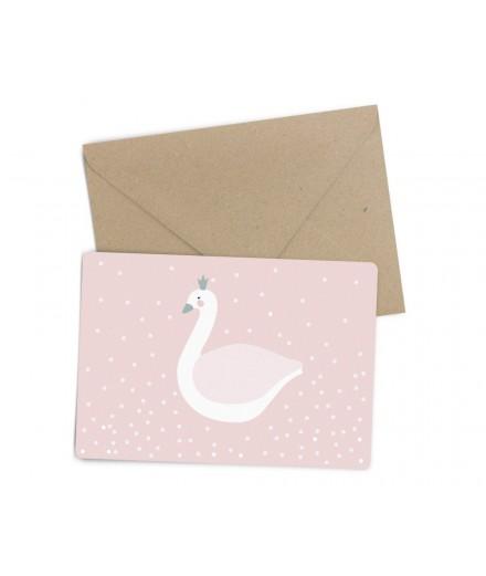 Carte postale Cygne rose