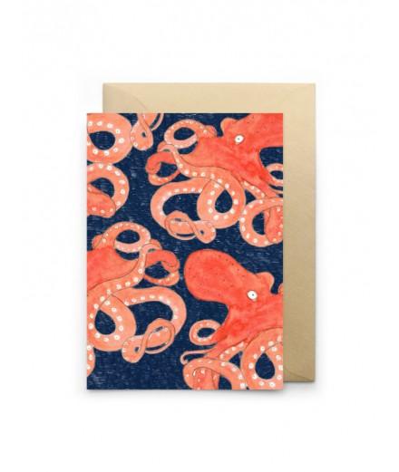 Carte double - Poulpes bleus
