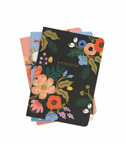 Set de 3 notebooks Lively floral couverture en tissu