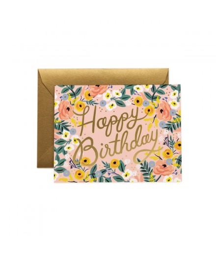 Carte double Happy Birthday - Rosé