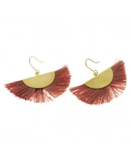 Boucles d'oreilles Pompons - Vieux rose