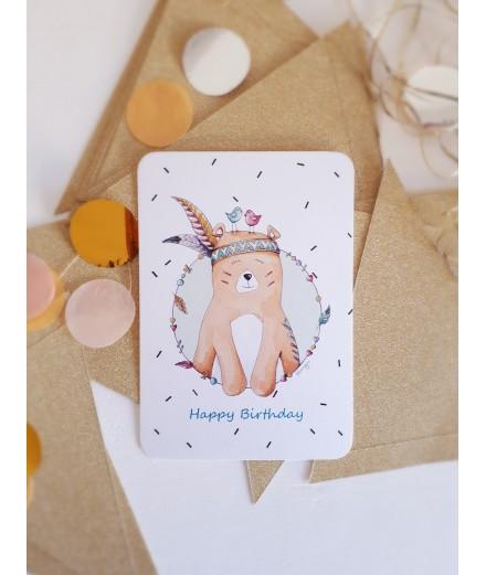Carte Happy Birthday ourson - bleu