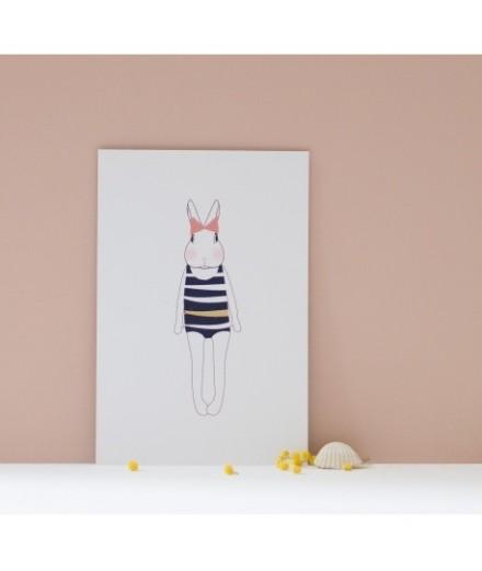 Carte postale Joséphine en maillot de bain