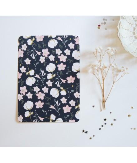 Carte postale motif floral marine