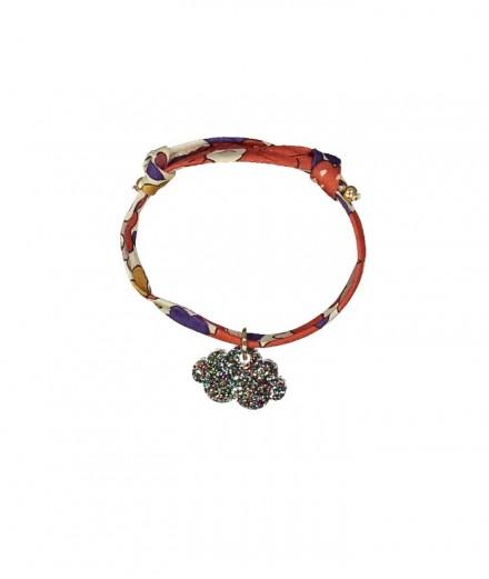 Bracelet enfant - Liberty rouge et nuage pailleté - bronze