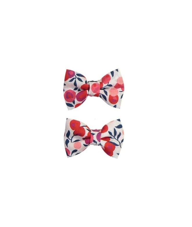 Pré-commander sur des coups de pieds de double coupon Set barrettes noeud Liberty rouge,Luciole et petit pois ...