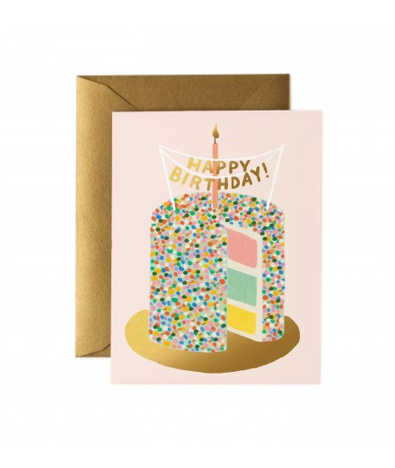 Carte double Happy Birthday - Gateaux