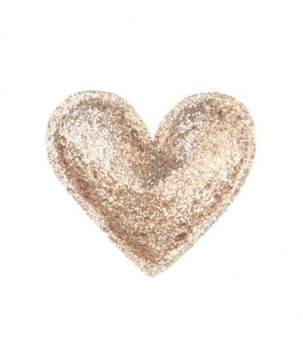 Coeur à suspendre - paillettes dorées