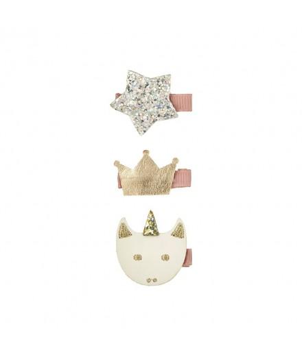 Set 3 barrettes - Licorne, étoile et couronne