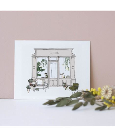 Carte postale Café Fleurs